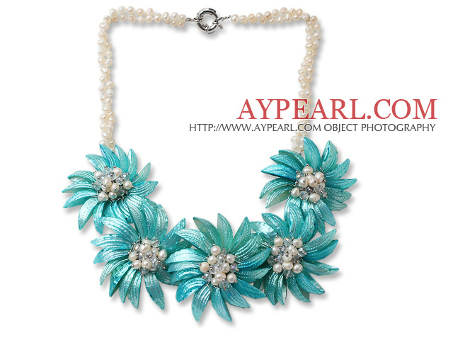 White Freshwater Pearl and Clear Crystal and Blue Shell Flower Necklace