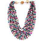Multi Strands Peacock Green and Gray and Pink Color Shell Knotted Necklace with Shell Clasp