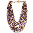 Multi Strands Purple and Brown Color Shell Knotted Necklace with Shell Clasp