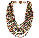 Multi Strands Green and Orange Color Shell Knotted Necklace with Shell Clasp