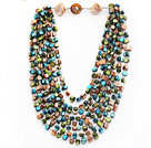 Multi Strands Peacock Green and Brown and Green Color Shell Knotted Necklace with Shell Clasp