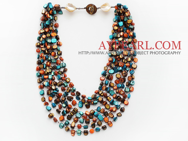 Multi Strands Peacock Green and Brown Color Shell Knotted Necklace with Shell Clasp
