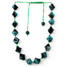 Green and Black Series Rhombus Shape Crystallized Agate Necklace with Extendable Thread