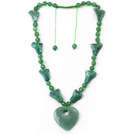 Green Series Assorted Multi Shape Aventurine Necklace with Extendable Thread and Heart Pendant