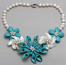 Wholesale White Freshwater Pearl Shell and Turquoise Flower Necklace