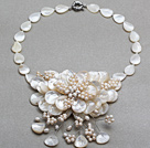 Wholesale White Series White Freshwater Pearl and Teardrop Shape White Shell Flower Necklace
