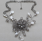Gray Series Gray Color Crystal and White Shell Flower Necklace with Extendable Chain