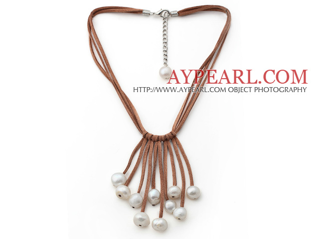 Potato Shape White Color Fan Shape Pearl Leather Necklace with Brown Leather