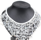 Marvelous Statement Clear Crystal Chips Hand-Knitted Bib Necklace