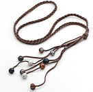 Long Style Potato Shape Multi Color Pearl Leather Necklace with Woven Brown Leather