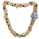 Wholesale fashion multi strand citrine chips and brown freshwater pearl necklace with flower clasp