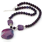 Nice Faceted Round Purple Agate Beaded Strand And Big Crystallized Agate Pendant Adjustable Necklace