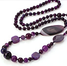 Fashion Long Style Faceted Round Oval Flower Purple Agate Beaded Strand Necklace