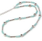 Wholesale Fashion Round Amazon Stone Beaded Necklace With Tibet Silver Tube Heart Charm And Extendable Chain