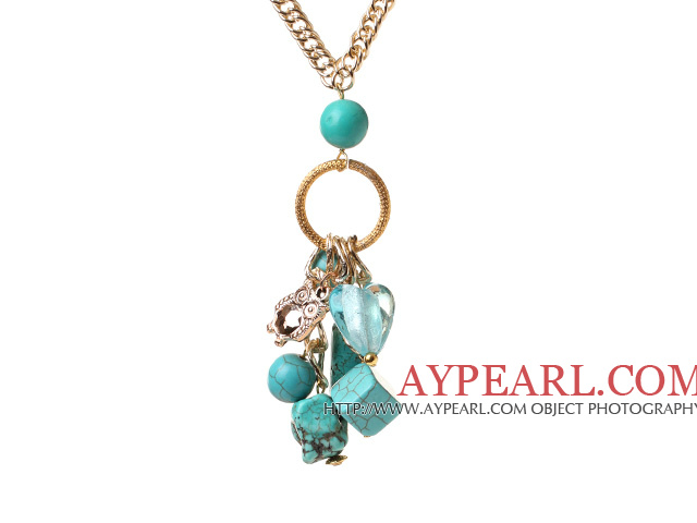 Fashion Long Chain Loop Style Multi Blue Turquoise And Owl Charms Pendant Necklace