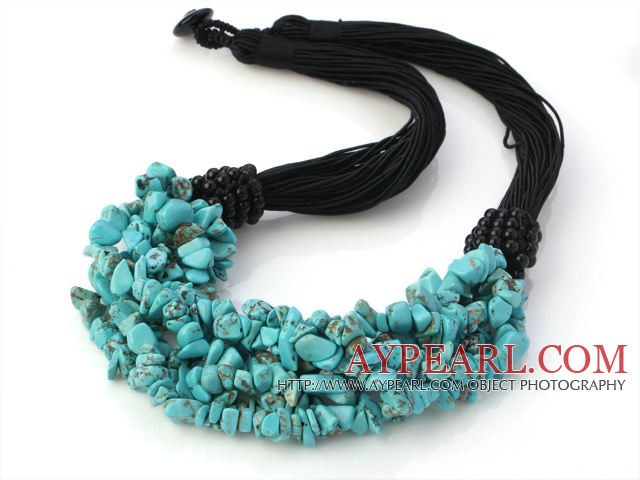 Elegant Multi Strands Multilayer 6-7mm Blue Turquoise Chips Necklace