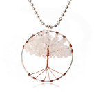Pretty Wired Crochet Rose Quartz Chips Life Tree Pendant Necklace With Silver Beads Strand
