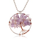 Pretty Wired Crochet Amethyst Chips Life Tree Pendant Necklace With Silver Beads Strand