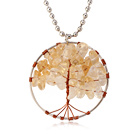 Pretty Wired Crochet Citrine Chips Life Tree Pendant Necklace With Silver Beads Strand