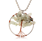 Pretty Wired Crochet Prehnite Chips Life Tree Pendant Necklace With Silver Beads Strand
