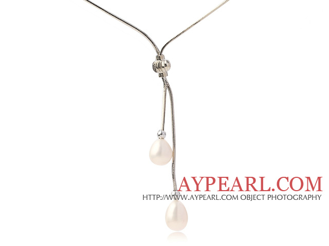 Lovely Natural 8-9mm Drop Shape White Freshwater Pearl Pendant Necklace