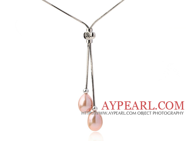 Lovely Natural 8-9mm Drop Shape Pink Freshwater Pearl Pendant Necklace
