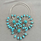 Unique Design Sky Wheel Shape Clear Crystal Turquoise Party Necklace