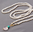 Fashion Long Style 6-7mm White Freshwater Pearl And Golden Beads Pendant Necklace