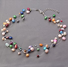 Fashion Multi Strands Threaded Colorful Freshwater Pearl Necklace With Extendable Chain