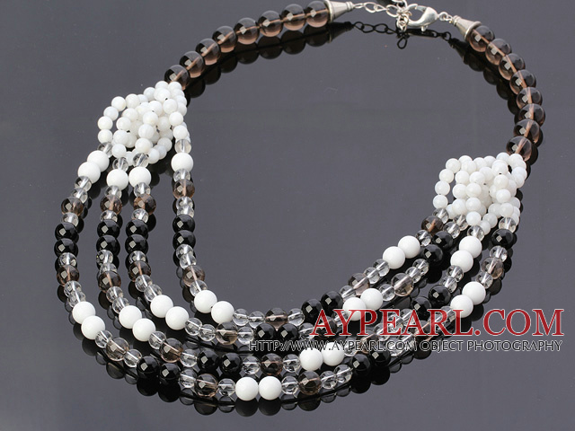 Fashion Multilayer Round Smoky Quartz Black Agate White Porcelain And Shell Beads Necklace