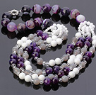 Fashion Multilayer Round Faceted Amethyst Gray Agate And White Porcelain Shell Beads Necklace