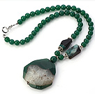 Fashion Round And Irregular Green Agate Beaded Necklace With Crystallized Agate Pendant