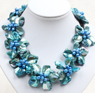 Beautiful Blue Series 9 Perlen-Shell-Blumen-Leder-Halskette