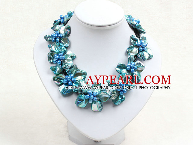 Beautiful Blue Series 9 Pearl Shell Flowers Leather Necklace