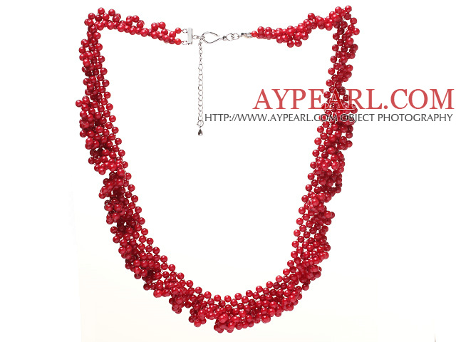 Fashion Multilayer Twisted Cluster Style Round Red Coral Beaded Necklace With Extendable Chain Clasp
