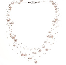 Fantastic Multi Strands Natural White Freshwater Pearl Wedding Bridal Threaded Necklace (No Box)