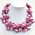 Beautiful Rose Red Series 9 Pearl Shell Flowers Leather Necklace