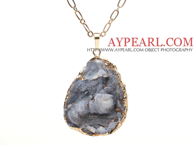 Fashion Golden Wired Wrap Black Crystallized Stone Pendant Necklace With Matched Golden Loop Chain