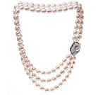 Fashion Three Strands 9-10mm Natural White Rice Shape Freshwater Pearl Necklace With Shell Flower Clasp (No Box)