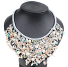 Three Strands Natural White Coin/Button Pearl And Crystal Necklace With Shell Flower Clasp (No Box)