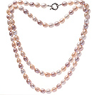 Fashion Long Design 9-10mm Natural Mixed White Pink And Purple Freshwater Pearl Necklace With Moonight Clasp