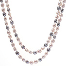 Fashion Long Design 9-10mm Natural White And Gray Baroque Freshwater Pearl Strand Necklace