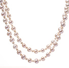 Classic Long Design Blandad storlek Natural White Freshwater Pearl pärlstav Strand Necklace