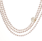 Fashion Long Design 6-7mm Natural White Freshwater Pearl Beaded Strand Necklace With Golden Flower Clasp