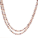 Fashion Long Design 6-7mm Natural White Pink And Purple Freshwater Pearl Beaded Strand Necklace