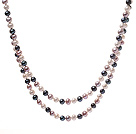 Elegant 6-7mm Long Style Multi Color Freshwater Pearl Beaded Strand Necklace