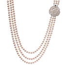 Classic Three Strands 8-9mm Natural White Freshwater Pearl Beaded Necklace With Shell Flower Clasp