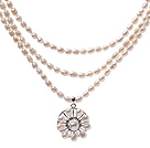 Elegant Three Strands 5-6mm Natural White Freshwater Pearl Beaded Necklace With Lovely Pearl Flower Pendant