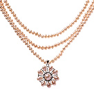 Elegant Three Strands 4-5mm Natural Pink Freshwater Pearl Beaded Necklace With Lovely Pearl Flower Pendant