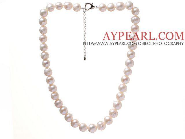 Fashion Single Strand 10-11mm Natural White Freshwater Pearl Beaded Necklace With Heart Clasp (No Box)
